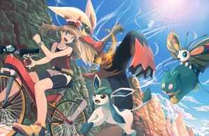 Rating: Safe Score: 54 Tags: beautifly bicycle bike_shorts blaziken blue_eyes brown_hair glaceon haruharu_(u-no_oekaki) haruka_(pokemon) munchlax pokemon shorts User: mattiasc02