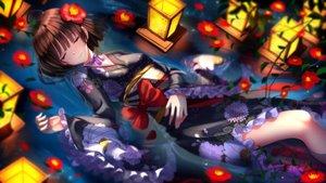 Rating: Safe Score: 115 Tags: bow brown_hair choker flowers japanese_clothes koutetsujou_no_kabaneri lolita_fashion mumei_(kabaneri) petals ribbons short_hair sleeping swordsouls water yukata User: FormX