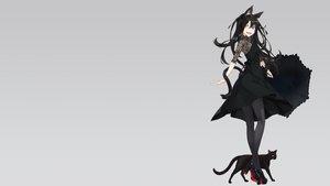 Rating: Safe Score: 82 Tags: animal bicolored_eyes black_hair cat catgirl dress fang gradient gray kimura_(ykimu) long_hair original pantyhose tail User: SciFi