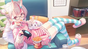 Rating: Safe Score: 43 Tags: book demon fang food game_console glasses hitokuchii hololive hoodie horns long_hair nakiri_ayame red_eyes thighhighs white_hair zettai_ryouiki User: BattlequeenYume