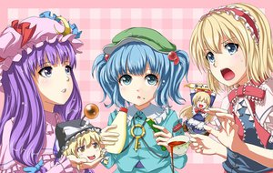 Rating: Safe Score: 35 Tags: alice_margatroid aqua_eyes blonde_hair blue_eyes blue_hair doll dress drink food fuji_hyorone hat kawashiro_nitori kirisame_marisa long_hair patchouli_knowledge purple_eyes purple_hair ribbons shanghai_doll short_hair touhou twintails witch yellow_eyes yukkuri_shiteitte_ne User: konstargirl
