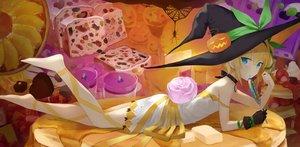 Rating: Safe Score: 93 Tags: akitaka_akita aqua_eyes barefoot blonde_hair cake candy chocolate choker dress edna_(zestiria) food fruit gloves halloween hat lollipop necklace orange_(fruit) ribbons short_hair strawberry tales_of_zestiria witch witch_hat User: mattiasc02