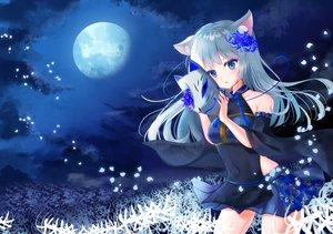Rating: Safe Score: 58 Tags: animal_ears aqua_eyes blush clouds gray_hair japanese_clothes long_hair mask moon night original petals skirt sky tsukimiya_sara User: Fepple
