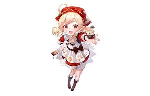 Rating: Safe Score: 38 Tags: apron blonde_hair blush boots bow candy chocolate dress genshin_impact headdress klee_(genshin_impact) loli pointed_ears red_eyes short_hair tsukiman twintails valentine white User: otaku_emmy
