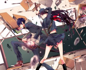 Rating: Safe Score: 200 Tags: black_hair blue_hair book bow katana kneehighs long_hair moanakana orange_eyes original school_uniform sword weapon User: HawthorneKitty