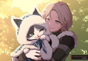 Rating: Safe Score: 39 Tags: animal aqua_eyes blonde_hair blush cape cat hoodie hug imjayu monster_hunter monster_hunter:_world palico short_hair watermark wink User: otaku_emmy