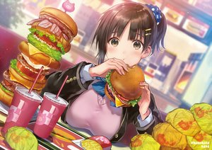 Rating: Safe Score: 124 Tags: breasts brown_eyes brown_hair drink food hanekoto original ponytail school_uniform short_hair watermark User: RyuZU
