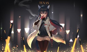 Rating: Safe Score: 54 Tags: animal_ears arknights black_hair cigarette gloves long_hair red_eyes shorts tail texas_(arknights) tttanggvl User: BattlequeenYume