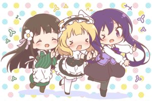 Rating: Safe Score: 23 Tags: apron black_hair blonde_hair blush chibi gochuumon_wa_usagi_desu_ka? headdress japanese_clothes kimono kirima_sharo long_hair maid mitarashi_neko pantyhose purple_eyes purple_hair short_hair tedeza_rize twintails ujimatsu_chiya waitress wink wristwear User: otaku_emmy