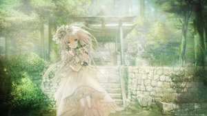 Rating: Safe Score: 13 Tags: ayunna blue_eyes cross dress forest green headdress lolita_fashion long_hair shrine tagme thighhighs torii tree watermark white_hair wristwear User: ssagwp