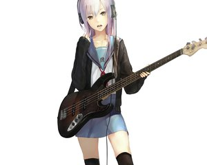 Rating: Safe Score: 148 Tags: guitar headphones instrument nagato_yuki nil suzumiya_haruhi_no_yuutsu thighhighs white User: Wiresetc