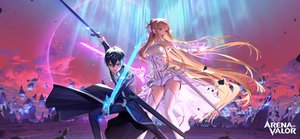 Rating: Safe Score: 34 Tags: arena_of_valor armor black_eyes black_hair braids brown_hair clouds crossover dress elbow_gloves garter_belt gloves kirigaya_kazuto long_hair magic male nightmadness orange_eyes short_hair skintight sky stockings sword sword_art_online sword_art_online_alicization weapon yuuki_asuna User: otaku_emmy