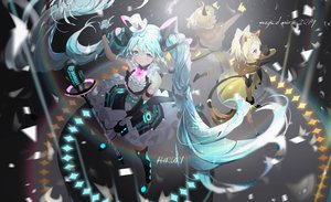 Rating: Safe Score: 26 Tags: aliasing animal_ears aqua_eyes aqua_hair blonde_hair blue_eyes bow catgirl dress elbow_gloves fang gloves hat hatsune_miku kagamine_len kagamine_rin long_hair magical_mirai_(vocaloid) male microphone mullpull ponytail short_hair signed tail thighhighs twintails vocaloid User: FormX