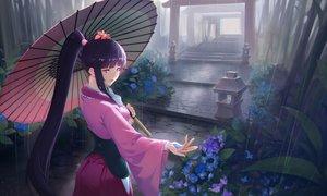 Rating: Safe Score: 110 Tags: corset flowers japanese_clothes koutetsujou_no_kabaneri long_hair nfb-zmc ponytail rain stairs torii umbrella water yomogawa_ayame User: RyuZU