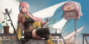 Rating: Safe Score: 55 Tags: blue_eyes boots breasts headphones jpeg_artifacts long_hair megurine_luka microphone navel pink_hair skirt sky_of_morika thighhighs vocaloid User: Flandre93