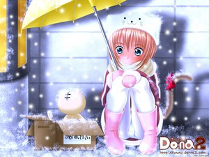 Rating: Safe Score: 15 Tags: animal animal_ears blush boots cat catgirl doll do-na_2 hat panties red_hair scarf short_hair snow tail umbrella underwear watermark User: Oyashiro-sama