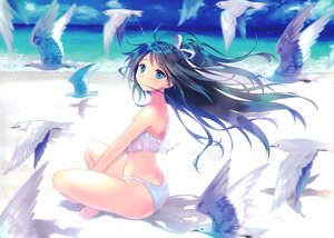 Rating: Safe Score: 74 Tags: animal anthropomorphism aqua_eyes ass beach bikini bird black_hair carnelian clouds kantai_collection katsuragi_(kancolle) long_hair ponytail scan sky swimsuit water User: RyuZU