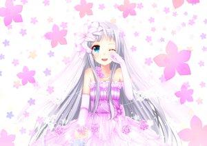 Rating: Safe Score: 144 Tags: ano_hi_mita_hana_no_namae_wo_bokutachi_wa_mada_shiranai blue_eyes blush crying flowers gray_hair honma_meiko long_hair swordsouls wedding wedding_attire User: opai