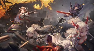 Rating: Safe Score: 67 Tags: animal_ears arknights brown_hair building ch'en_(arknights) city exusiai_(arknights) eyjafjalla_(arknights) fire group halo horns jay_xu lappland_(arknights) long_hair nian_(arknights) pointed_ears ponytail purple_eyes purple_hair red_eyes shining_(arknights) shorts signed staff sword texas_(arknights) thighhighs weapon white_hair wings User: BattlequeenYume