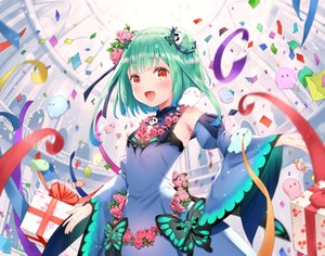 Rating: Safe Score: 72 Tags: blush bow candy chinese_clothes chinese_dress dress fang flowers green_hair hololive red_eyes ribbons rose short_hair uruha_rushia yasuyuki User: otaku_emmy