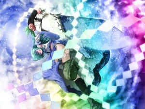 Rating: Safe Score: 34 Tags: akashio blue_eyes green_hair hinanawi_tenshi japanese_clothes kneehighs kochiya_sanae long_hair miko sword touhou weapon User: Tensa