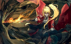 Rating: Safe Score: 43 Tags: blonde_hair elbow_gloves fire gloves long_hair magic original pixiv_fantasia ponytail red_eyes ryuuzaki_ichi sword weapon User: RyuZU