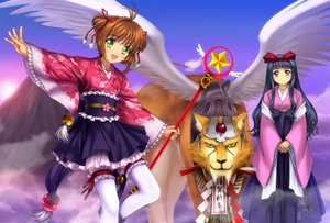 Rating: Safe Score: 33 Tags: animal black_hair blue_eyes brown_hair card_captor_sakura daidouji_tomoyo garter green_eyes japanese_clothes kero kimono kinomoto_sakura long_hair moonknives short_hair thighhighs wand wings yukata User: gnarf1975