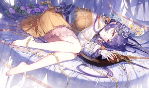 Rating: Safe Score: 73 Tags: barefoot bow dress flowers instrument jpeg_artifacts kieta long_hair purple_eyes purple_hair touhou tsukumo_benben User: BattlequeenYume