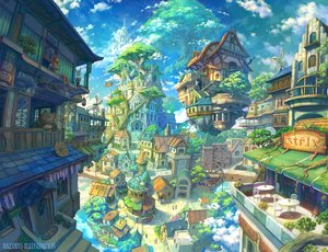Rating: Safe Score: 78 Tags: animal barefoot brown_hair building cat city clouds dress flowers kaitan long_hair original sky tree watermark windmill User: RyuZU