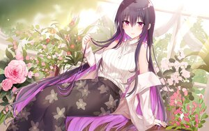 Rating: Safe Score: 51 Tags: flowers kinona long_hair necklace open_shirt original purple_eyes purple_hair rose User: BattlequeenYume