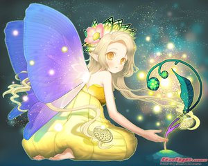 Rating: Safe Score: 43 Tags: barefoot blonde_hair blush dress fairy galge.com hanamura_mai headdress logo long_hair orange_eyes pointed_ears wings User: Oyashiro-sama