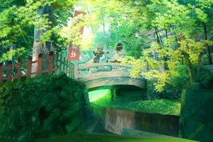 Rating: Safe Score: 127 Tags: 2girls black_hair forest green hat landscape maribel_han scenic shinta_(hmmuk) torii touhou tree usami_renko User: Flandre93