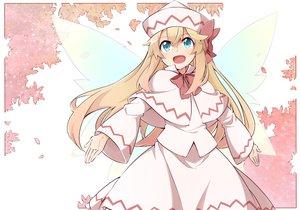 Rating: Safe Score: 51 Tags: aqua_eyes blonde_hair bow dress fairy hat lily_white long_hair touhou wings yutamaro User: Dust