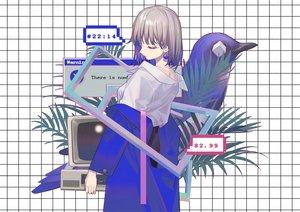 Rating: Safe Score: 40 Tags: animal bird computer gray_hair original shirt short_hair zicai_tang User: otaku_emmy