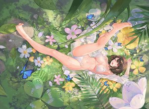 Rating: Safe Score: 164 Tags: atdan bikini blush breasts brown_hair butterfly cameltoe cropped flowers forest leaves original red_eyes short_hair swimsuit third-party_edit tree water wet wink User: otaku_emmy