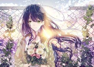 Rating: Safe Score: 57 Tags: blue_hair flowers green_eyes long_hair original petals seikai_meguru signed User: FormX