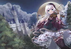 Rating: Safe Score: 45 Tags: building clouds dress goth-loli hekicha instrument lolita_fashion long_hair moon original sky thighhighs violin white_hair User: BattlequeenYume