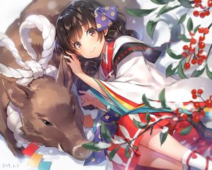 Rating: Safe Score: 60 Tags: animal braids brown_eyes brown_hair food fruit japanese_clothes kimono long_hair mmu original rope snow socks twintails winter User: otaku_emmy