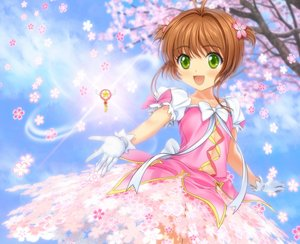 Rating: Safe Score: 87 Tags: bow brown_hair card_captor_sakura cherry_blossoms dress flowers gloves green_eyes kinomoto_sakura moonknives short_hair tree twintails User: gnarf1975