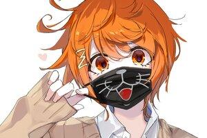 Rating: Safe Score: 20 Tags: all_male cat_smile close emia_(castilla) heart kimi_ga_shine male mask orange_eyes orange_hair school_uniform short_hair sketch toto_noel white User: otaku_emmy