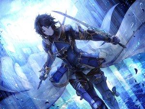 Rating: Safe Score: 88 Tags: all_male aqua_eyes black_hair elbow_gloves gloves granblue_fantasy lancelot_(granblue_fantasy) male rain short_hair signed sword tenyo0819 water weapon User: RyuZU