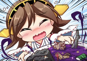Rating: Safe Score: 20 Tags: anthropomorphism blush brown_hair chibi food headband hiei_(kancolle) japanese_clothes kantai_collection sekiguchi_miiru short_hair User: RyuZU