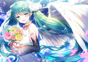 Rating: Safe Score: 39 Tags: flowers hatsune_miku kashiwabara_en long_hair twintails vocaloid wings User: BattlequeenYume