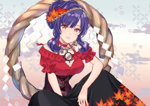 Rating: Safe Score: 26 Tags: blue_hair breasts cleavage dress gradient leaves mirror miyakoto red_eyes rope short_hair touhou yasaka_kanako User: RyuZU