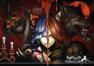 Rating: Safe Score: 64 Tags: animal bat blood blue_hair collar dantewontdie imaizumi_kagerou long_hair red_eyes red_hair remilia_scarlet touhou vampire wolf wolfgirl User: otaku_emmy