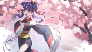 Rating: Safe Score: 38 Tags: bell blue_hair cherry_blossoms chinese_clothes fang flowers jashin-chan_dropkick katsuki_natsu kyon-kyon twintails yellow_eyes User: otaku_emmy