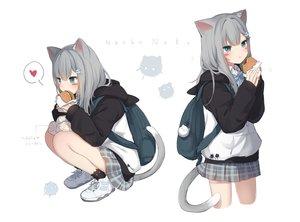 Rating: Safe Score: 85 Tags: amashiro_natsuki animal_ears aqua_eyes catgirl food gray_hair heart hoodie nacho_neko original sketch skirt socks tail white User: BattlequeenYume