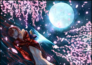 Rating: Safe Score: 32 Tags: blue_eyes blush breasts cherry_blossoms cleavage japanese_clothes kimono long_hair moon night original petals red_hair tagme_(artist) water wet User: luckyluna