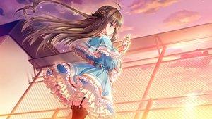 Rating: Safe Score: 64 Tags: boukyaku_shitsuji_to_koi_suru_ojou-sama_no_memoir bow brown_hair campus chidori_hinano dress game_cg lolita_fashion long_hair purple_eyes rubi-sama stockings sunset User: FormX