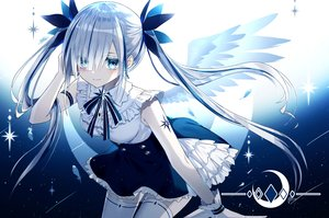 Rating: Safe Score: 68 Tags: aliasing angel blue_eyes feathers gloves gray_hair kazunehaka long_hair original polychromatic thighhighs twintails wings User: BattlequeenYume